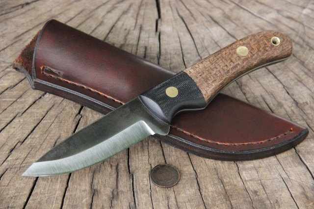 Belt Knife, Bush Knife, Lucas Forge Knives, Custom Knife, Custom Scandi Knife, Scandi Grind Blade Knife, Custom Knife