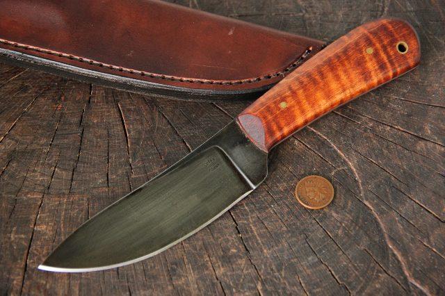 Curly Maple, Nessmuk, Nessmuk Knife, Custom Nessmuk, Custom Hunting Knives, Lucas Forge, Backwoodsman Knife, Backwoodsman Nessmuk, Custom Knife