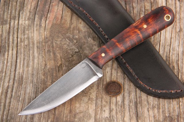 Trapping Knife, Trapper Knife, Lucas Forge, Lucas Knives, Lucas Forge Knives, Curly Maple Knives, Hunting Knife, Skinning Knife, Heirloom Knife