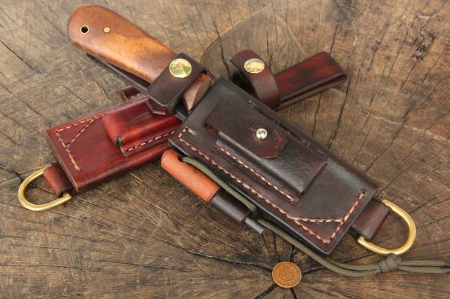Custom Knife Sheaths, Custom Hunting Knives, Custom Survival Sheaths, Survival Sheaths, Survival Kit for Your Belt, Leather Belt Sheath