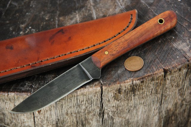 Koa Wood, Belt Knife, Custom Hunting Knife, Lucas Forge, Lucas, Backwoodsman Knife