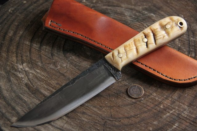 Custom Hunting Knife, powder river knife, Custom knife, Ram's Horn Knife, Lucas Forge Knives, Full Tang Hunting Knife, Hammer Forged Knife, Custom Forged Knives, Hand Forged Knives