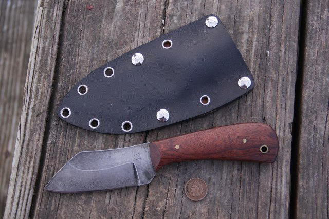 Utility Knife, Custom Hunting Knife, Lucas Forge, Horizontal Sheath, Belt Knife, Custom Knife