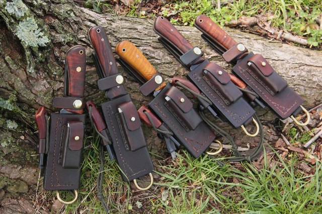 Custom Knife Sheathsm Lucas Forge Knives, Trekker Sheath, Custom Leatherwork, Custom Hunting Knives, Ike's Axes