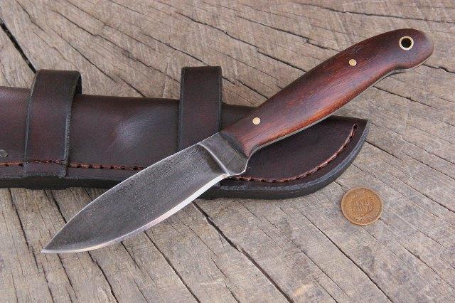 Hunting Knife, Skinning Knife, Belt Knife, Horizontal Sheath, Custom Knives, Hunting Knife, Custom Hunting Knives, Walnut Handled Knife, Gift Knife