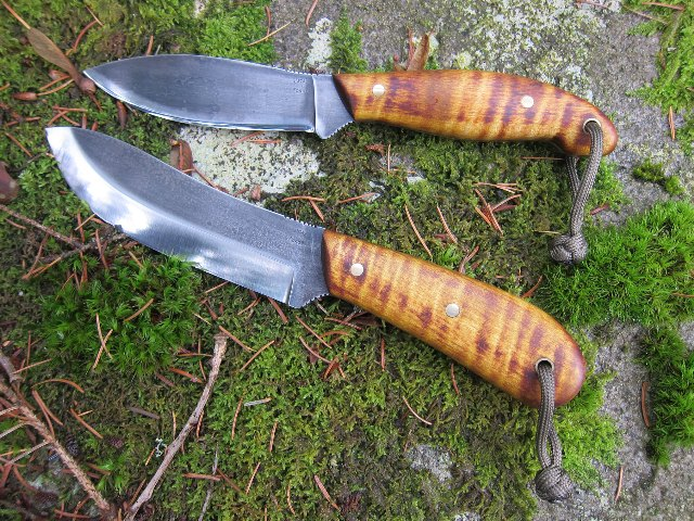 Custom Knives, Nessmuk, Scandi Grind Knives, Lucas Forge Knives