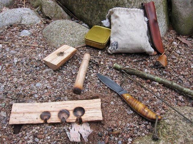Bow drill, Custom Hunting Knives, Lucas Forge, Outdoor Skills