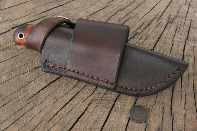 Horizontal Snap Sheath, Custom Leatherwork, Custom Knives, Lucas Forge Knives, Trapping Knife, Skinning Knife, Outdoorsman Knife, Sportsmens Knife