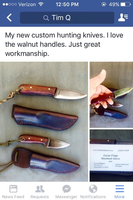 Custom Knives, Custom Lucas Forge Knives, Walnut Handled Knives