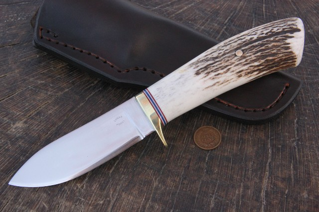Antler Handled Knife, Lucas Forge, Custom Hunting Knives, Knives with big handles, Custom Knife, Custom Knives, Lucas Knives, Hunting Knife, Antler Hunting Knife
