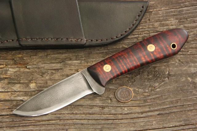 Packer, Curly Maple Packer, Pack Knife, Belt Knife, Custom Hunting Knives, Lucas Forge