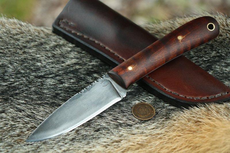 Large Frontier Knife, Lucas Forge, Belt Knife, Backwoodsman Knife, Hunting Knife, Custom Hunting Knives, Small Custom Knives, Custom Knifemakers, Order a Custom Knife, Curly Maple
